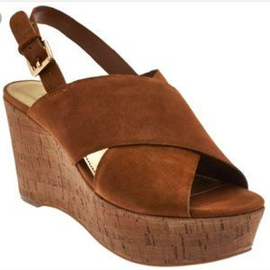 Marc Fisher Suede Cross Strap Cork Wedges Brown